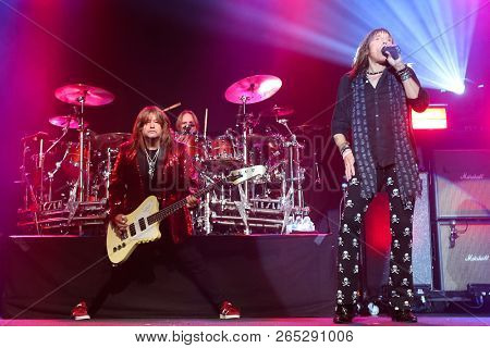 HUNTINGTON, NY - OCT 25: (L-R) Brian Wheat, Troy Luccketta and Jeff Keith of Tesla performs onstage at the Paramount on October 25, 2018 in Huntington, New York.