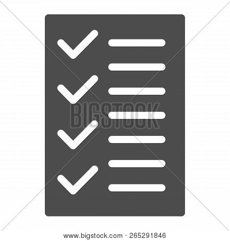 Test Solid Icon. To Do List Vector Illustration Isolated On White. Notepad Glyph Style Design, Desig