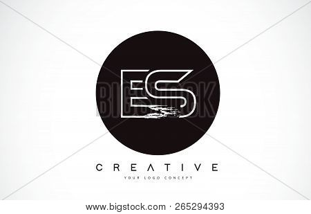 Es Modern Leter Logo Design With Black And White Monogram. Creative Letter Logo Brush Monogram Vecto
