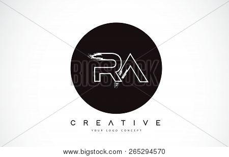 Ra Modern Leter Logo Design With Black And White Monogram. Creative Letter Logo Brush Monogram Vecto