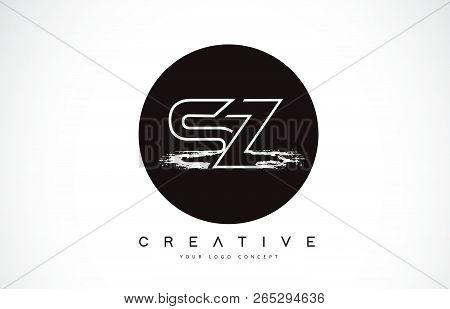 Sz Modern Leter Logo Design With Black And White Monogram. Creative Letter Logo Brush Monogram Vecto