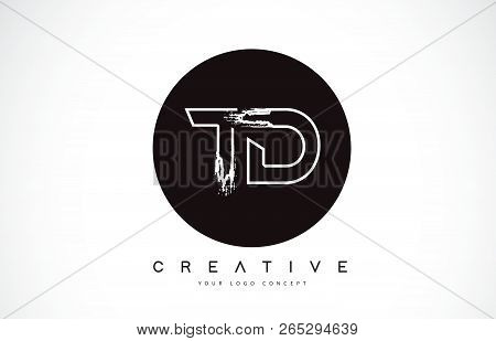 Td Modern Leter Logo Design With Black And White Monogram. Creative Letter Logo Brush Monogram Vecto