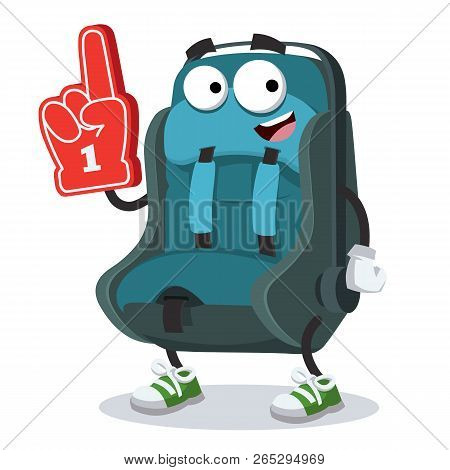 Cartoon Baby Car Seat Character Mascot With The Number 1 One Sports Fan Hand Glove On