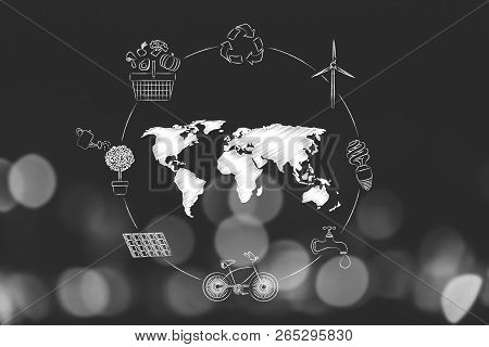 Ecosystem Conceptual Illustration: Circle Of Ecology-related Symbols And World Map In The Center