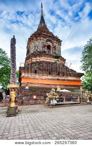 Ancient Historic Temple Lok Molee In Chiang Mai; Thailand