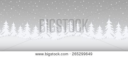 Christmas Background. Winter Landscape. Seamless Border. There Are White Fir Trees On A Gray Backgro