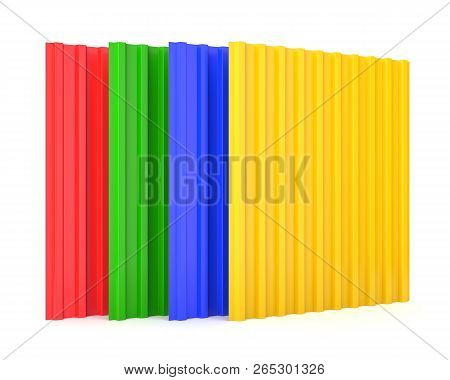 Group Of Color Construction Steel Profile Panel Sheets Isolated On White Background. 3d Illustration