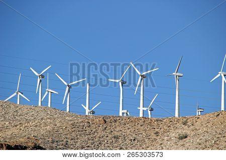 Landscape With Wind Turbines Coachella Valley California