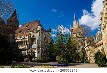 Courtyard Of Old Magic Fairy Vajdahunyad Castle (vajdahunyad Vara) In The City Park (városliget Park
