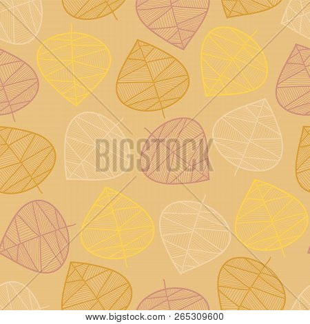 Scattered Autumn Leaves Seamless Vector Background. Subtle Abstract Pattern. Repeating Texture Styli