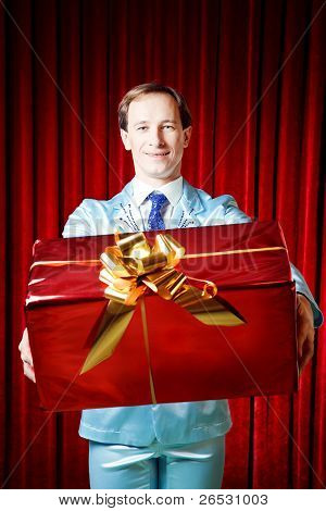 Smiling Man With A Gift