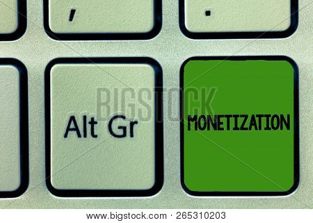 Handwriting text Monetization. Concept meaning Process of converting establishing something into legal tender poster