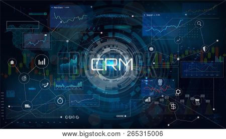 Crm - Customer Relationship Management. Customer Relationship Management Concept. Vector Illustratio