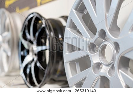 Car Max Wheel. Magnesium Alloy Wheel.various Alloy Wheels In Store, Selective Focus.car Rims Isolate
