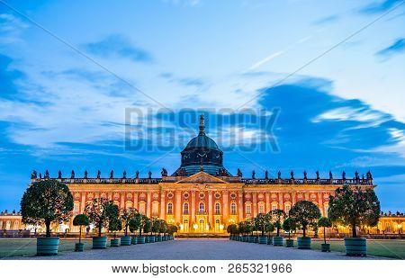 The Neues Palais in Sanssouci Park of Potsdam, UNESCO world heritage in Brandenburg, Germany poster