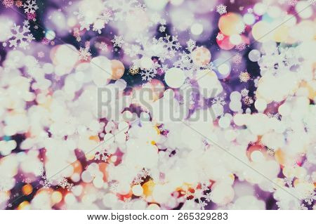 Abstract Light Celebration Background With Defocused Golden Lights For Christmas, New Year, Holiday,