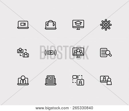 Online Education Icons Set. Education E-learning And Online Education Icons With Headphone Laptop, B
