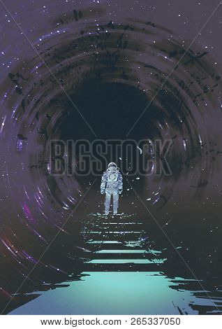 Astronaut On Light Stairs Looking A Mystery Black Hole, Digital Art Style, Illustration Painting