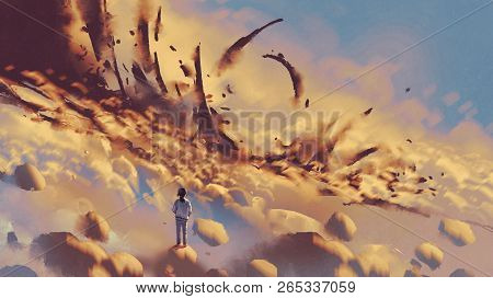 Surreal Scenery Showing The Girl Looking At Mysterious Things On Clouds, Digital Art Style, Illustra