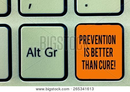 Handwriting Text Writing Prevention Is Better Than Cure. Concept Meaning Disease Is Preventable If I