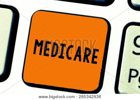 Writing note showing Medicare. Business photo showcasing federal government plan in us for paying certain hospital poster
