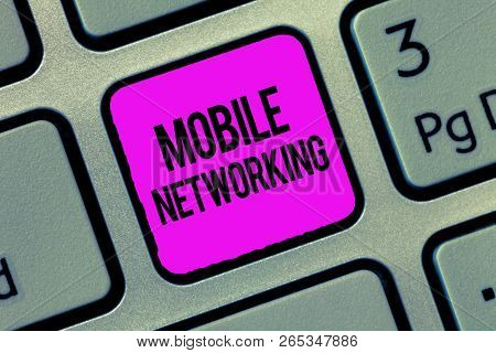 Conceptual Hand Writing Showing Mobile Networking. Business Photo Showcasing Communication Network W