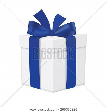 White Gift Box With Blue Ribbon Isolated On A White Background