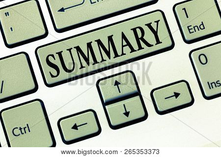 Word writing text Summary. Business concept for Brief Statement Abstract Synopsis Concise Abbreviated version poster