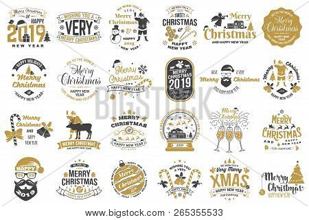Set Of Merry Christmas And 2019 Happy New Year Stamp, Sticker Set Quotes With Snowflakes, Snowman, S