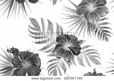Black White Exotic Pattern. Monstera And Hibiscus Flowers Tropical Bouquet.  Hawaiian T-shirt And Sw
