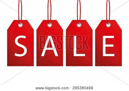 Red Sale Label Isoladet On White Background Vector Illustration Eps10