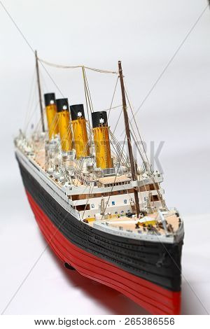 Handmade Model Of Titanic. Beautiful Handmade Model Of Titanic Isolated On White Background.