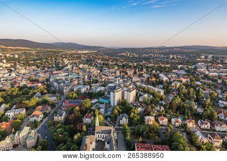 Aerial Shot Of Liberec City From Hotair Balloon