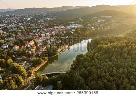 Aerial Shot Of Harcov Dam In Liberec