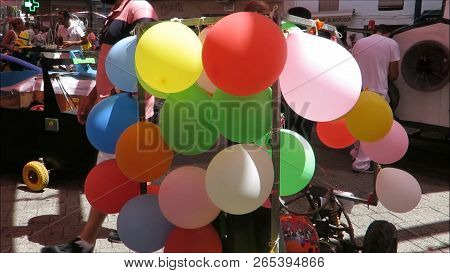 Alora, Spain - August 23, 2018: Balloon Decorated Homemade Racing Car In Alora Town Sqare After The