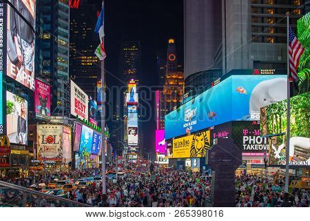 New York, United States - Jun 21, 2016: Times Square At Night In New York City. Times Square With Ne