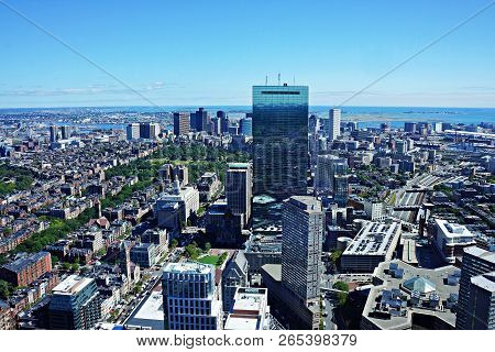 Boston - September 12, 2014: Massachusetts, Usa: Boston Skyline At The Evening. View On Downtown And