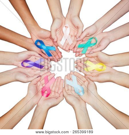 Colorful Ribbons, Cancer Awareness, World Cancer Day Background. Many Ribbons On Hands Isolated On W
