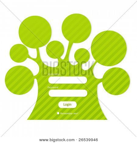Login Password In Form Of Tree, Isolated On White Background, Vector Illustration