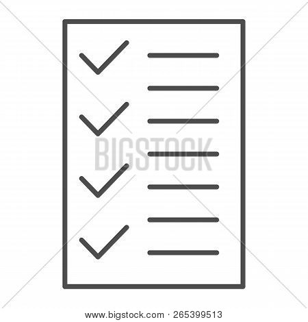 Test Thin Line Icon. To Do List Vector Illustration Isolated On White. Notepad Outline Style Design,
