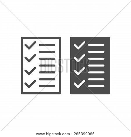 Test Line And Glyph Icon. To Do List Vector Illustration Isolated On White. Notepad Outline Style De