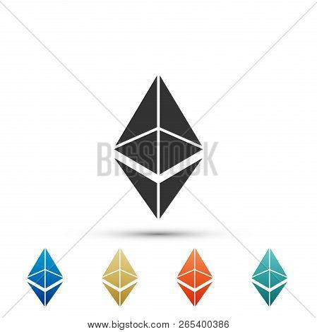Cryptocurrency Coin Ethereum Eth Icon Isolated On White Background. Physical Bit Coin. Digital Curre