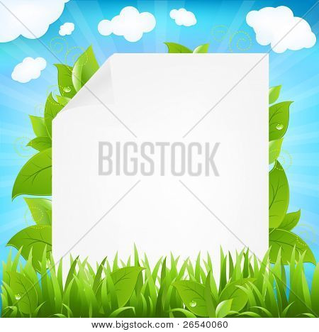 Paper With Beams And Sprout, Isolated On White Background, Vector Illustration