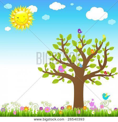 Cartoon Landscape With Bird, Vector Illustration