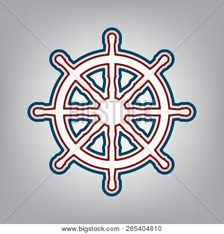 Ship Wheel Sign. Vector. Dark Red, Transparent And Midnight Gree