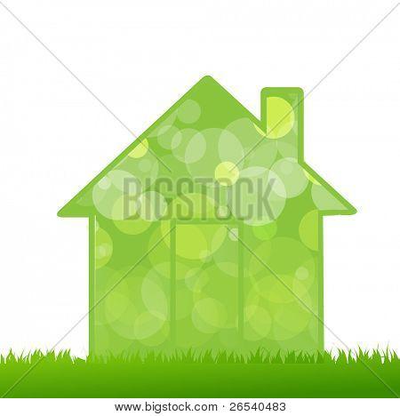 Gras en huis, geïsoleerd op een witte achtergrond, Vector Illustratie