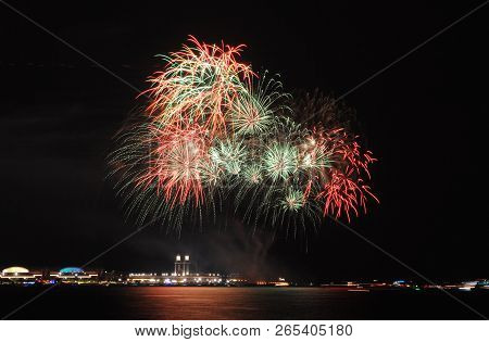 Fireworks On A Lake Water, Amazing Fireworks, Fireworks 2018, Fireworks Background, Fireworks Event,