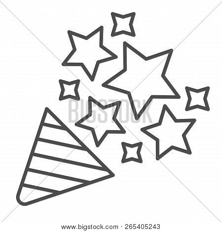 Firecracker Thin Line Icon. Confetti Popper Vector Illustration Isolated On White. Party Popper Outl