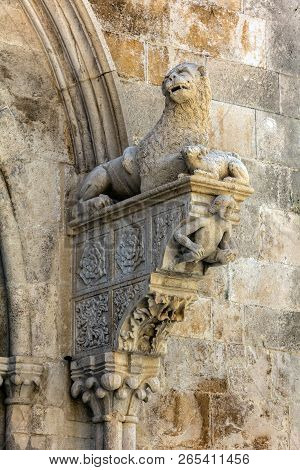 The Portal Of The Cathedral Of Saint Mark In Korcula, Croatia, Built By Bonino Da Milano In 1412 Con
