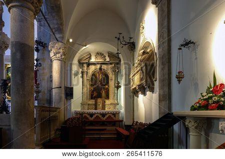 Korcula, Croatia, August 1, 2018: Cathedral Of Saint Mark In Korcula, Croatia, Built In The 15th-16t